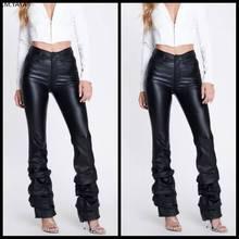 Pantalon en cuir PU taille haute pour femme, vêtement de club sexy, drapé, ourlet drapé, mode vêtements actifs, élégant, paillettes, long, GLLD8619