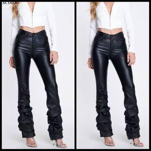 Winter autumn women sexy club high waist draped hem pants PU Leather fashion active wear elegant sequined long trousers GLLD8619