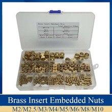 Juego de tuercas integradas de cilindro de latón moleteada y roscada, Kit con caja de plástico, 210 unidades