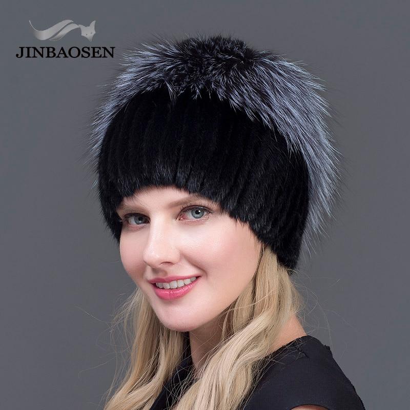 JINBAOSEN New Winter Natural Imported Mink Fur Hat For Women Rabbit Fur Petal Top Mix Fox Fur Warm And Fashion Warm Ear Cap