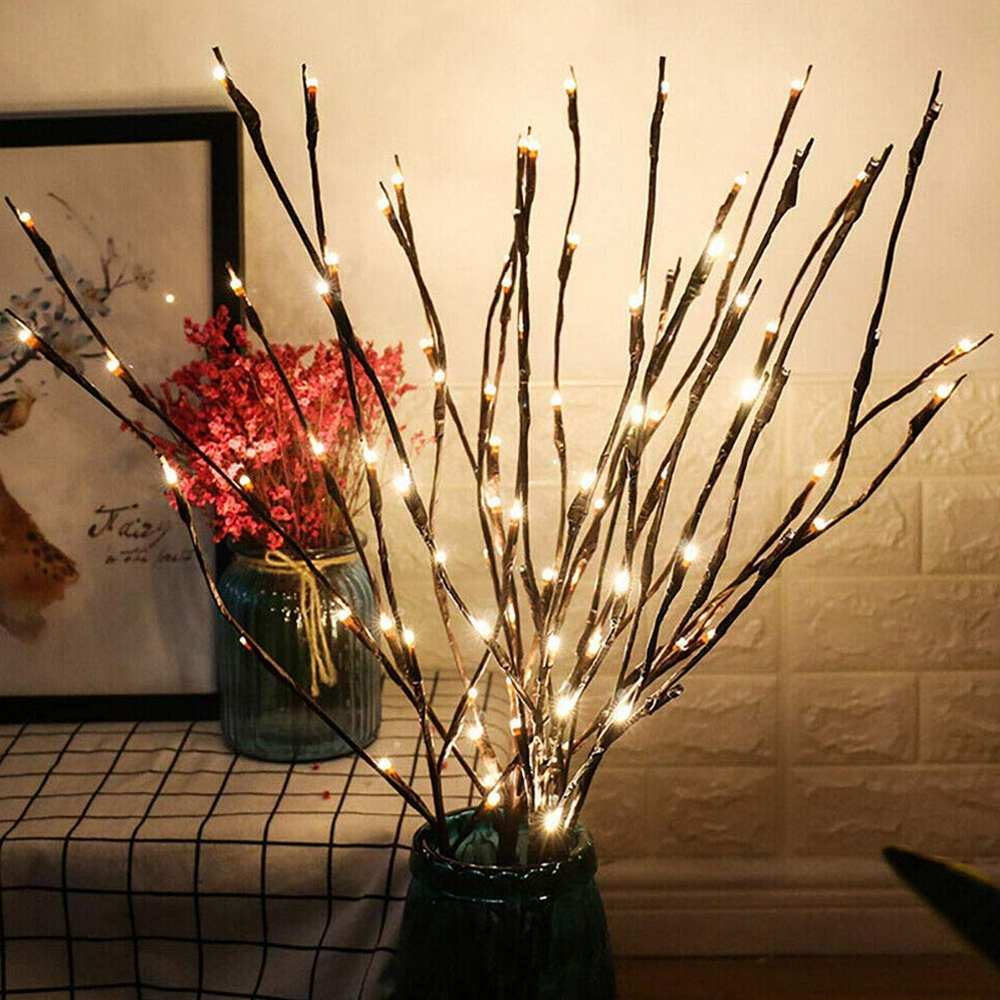 20 Bulbs LED Willow Branch Lamp Battery Powered 6 Colors Natural Tall Vase Filler Willow Twig Lighted Branch For Home Decoration