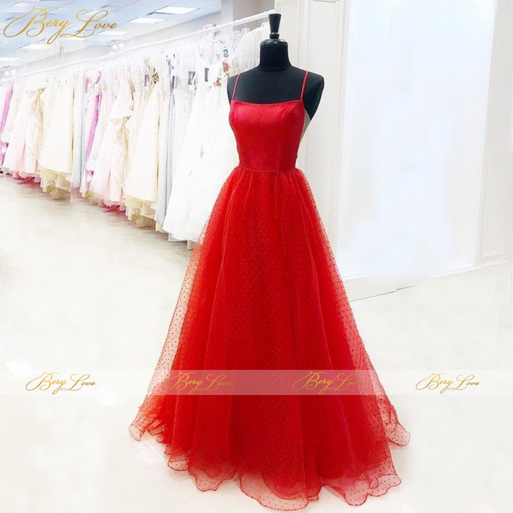 Tulle Prom Dresses Long vestidos de graduación Sexy Red Formal Evening Dress Plus Size Open Low Back Prom Gown Spaghetti Straps