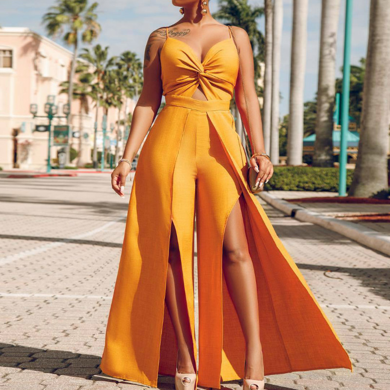Sexy Women Jumpsuit Fashion Wide Leg Pants High Split Summer Fashion Vacation Backless Overalls Spaghetti Stripe Holiday Clothes