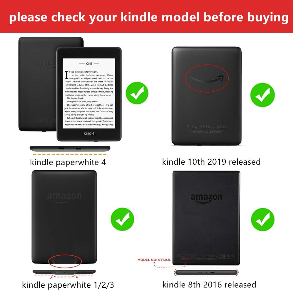 Amazon Kindle Paperwhite Case Smart Cover for Kindle 10th Hard Case for Kindle Paperwhite 4/3/2 Print Cover for Kindle 8th-1
