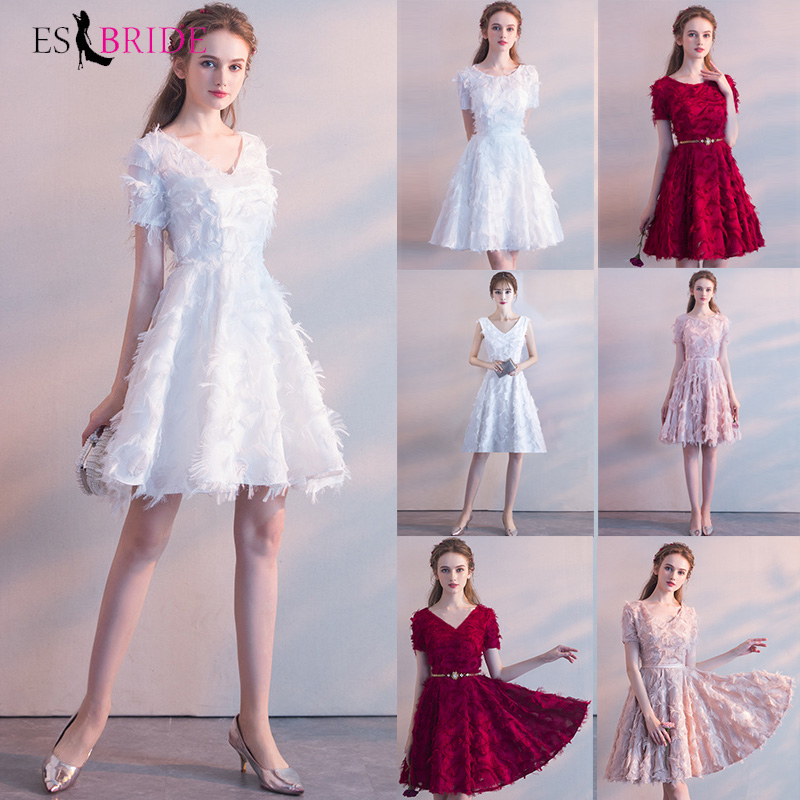 White Simple Sexy Homecoming Dresses ES30041 A-Line V-Neck Short Sleeve Graduation Dresses Vestido De Formatura