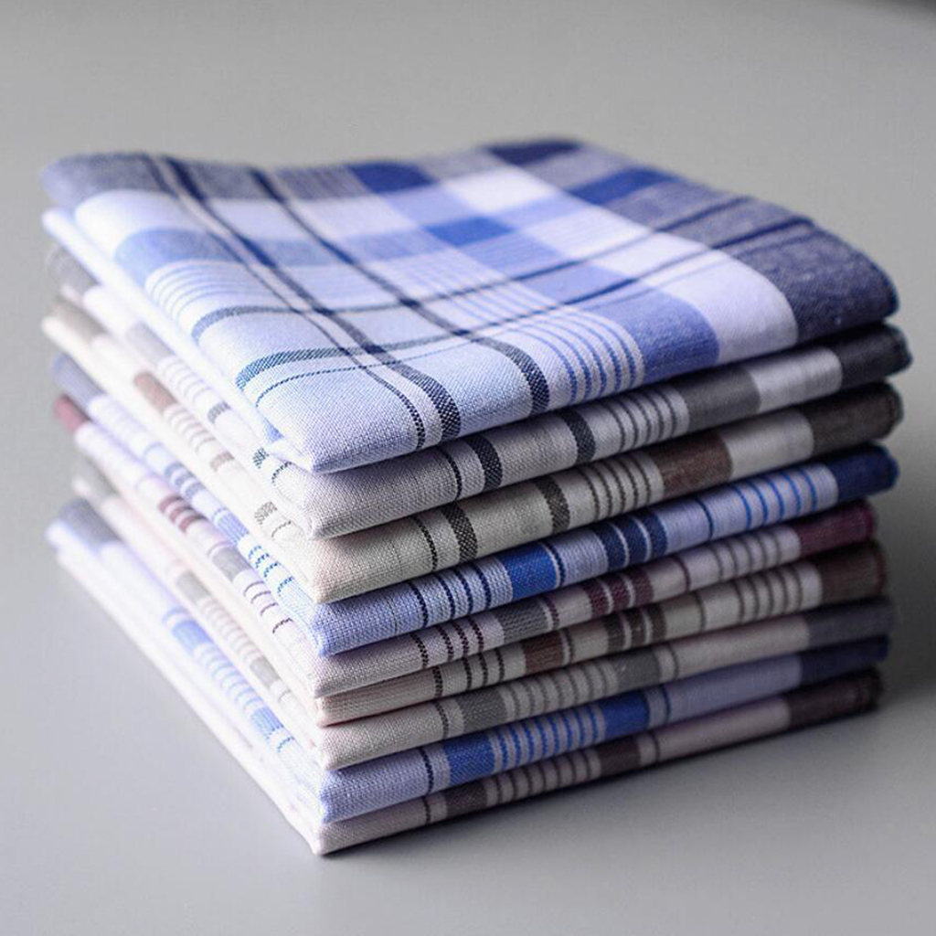 10pcs 100% Cotton Men Square Plaid Handkerchiefs  38x38cm Hanky Light Color Classic Stripe Handkerchiefs Pocket Towel Party