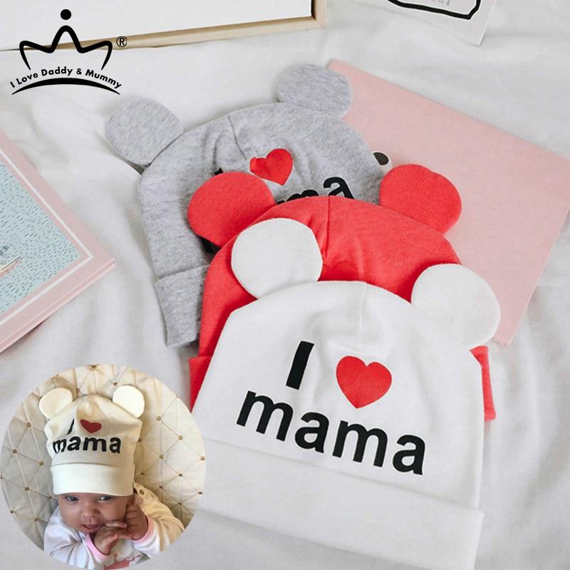 Cute Ear Baby Hat Newborn Boys Girls Cotton Beanie Cap Soft Autumn Winter Kids I Love mama papa Printed Caps(China)