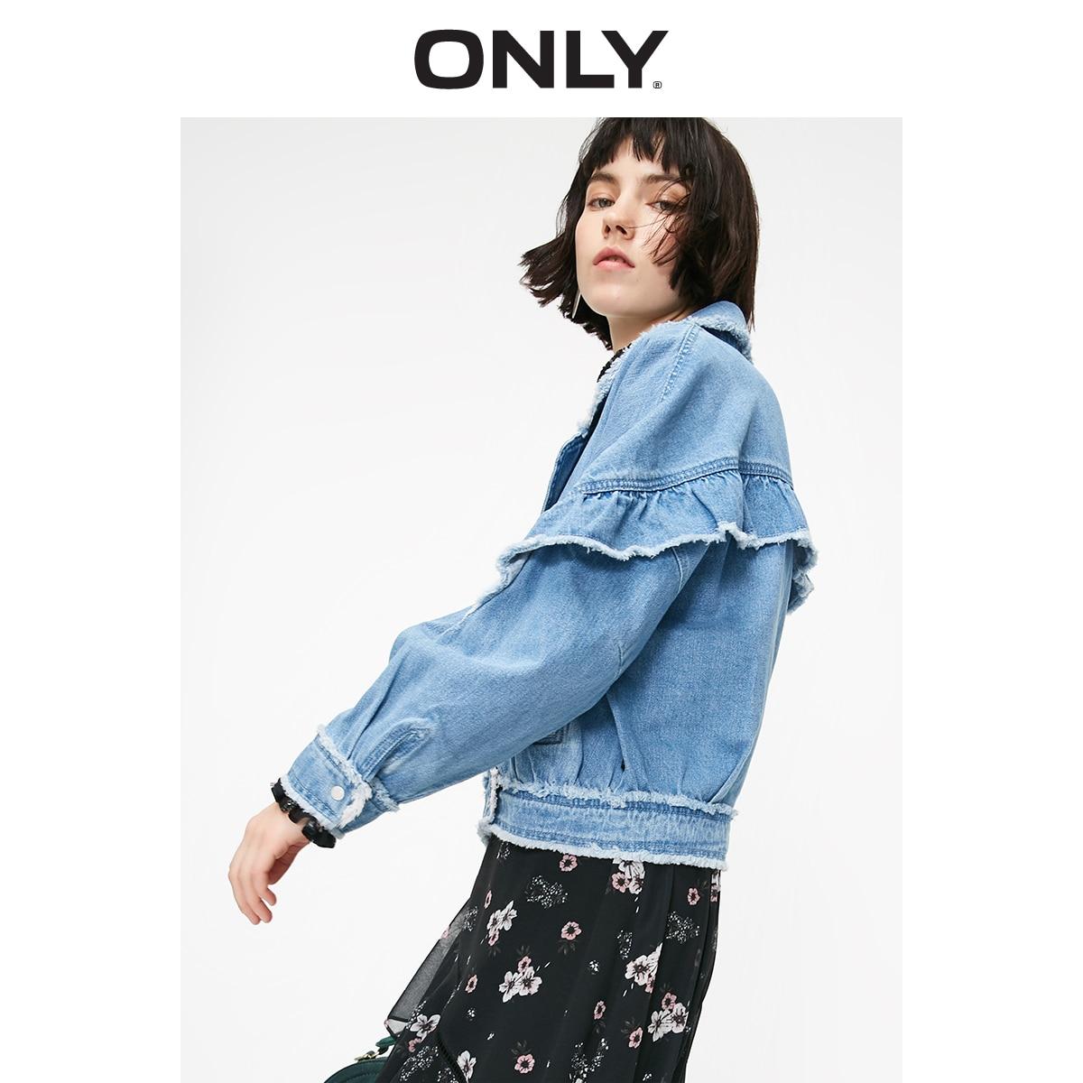 ONLY Women's Short Ruffled Raw-edge Denim Jacket   119154505