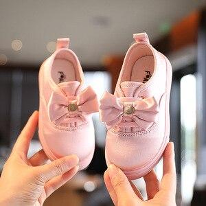 Autumn Kids Sneakers Fashion Solid Color Bowtie Girls Cloth Shoes Children Boys Sport Shoes Flat Student Shoes Size 21-36 SYY168