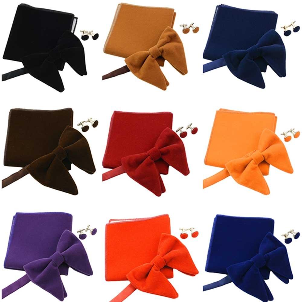 Men Solid Oversized Velvet Pre-tied Bow Tie Pocket Square Cufflinks Bowtie Set QNTIE0304