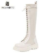 2020 outono/inverno novo couro alto tubo na altura do joelho plataforma botas femininas laço-up de malha de couro de sola grossa botas finas tendência