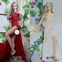 В наличии 1/6 Ангел Красота девушка глава лепить с белым и красным платье костюм подходит 12 ''Женская фигурка тела
