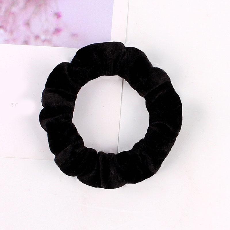 1 шт., женское эластичное кольцо для волос, зимние мягкие бархатные резинки, резинки для волос, милые одноцветные аксессуары для волос, держатель для конского хвоста - Цвет: Velvet-1
