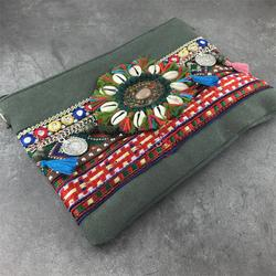 Женская сумка в богемном стиле, металлическая сумка через плечо в стиле бохо, Женская винтажная Этническая сумка через плечо с вышивкой и це...