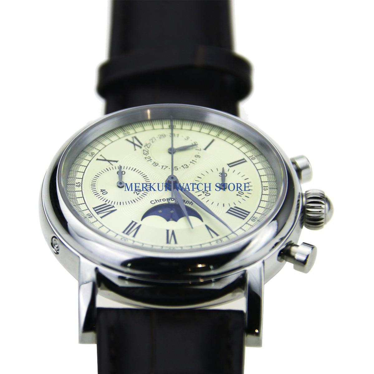 Geen logo Herenhorloge Mechanische Chronograaf Pilot 1963 Jurk Horloge Jurk Meeuw Beweging St1908 - 6