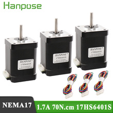 3pcs Free shipping 4 lead Nema17 Stepper Motor 17HS6401S 42 motor Nema 17 motor 42BYGH 60MM motor for CNC XYZ 3d printer