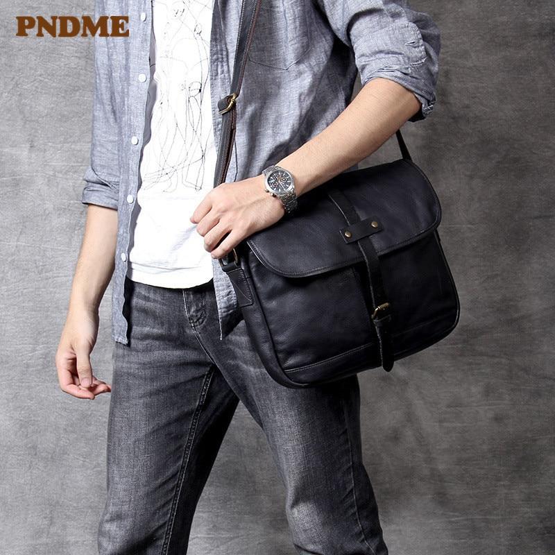 PNDME повседневная мужская черная сумка через плечо из натуральной кожи, роскошная простая сумка мессенджер из мягкой воловьей кожи, Дизайнер
