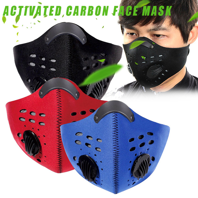 Double Hepa Breathing Valves Filter sport running mask Reusable Face Mask for adult Anti-Dust Flu Mouth Masks PM 2.5 Respirator 1