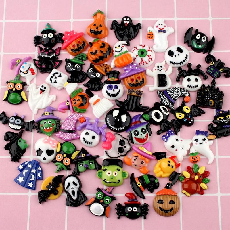 100Pcs Mixed Halloween Decoration Pumpkin Ghost Flatback Resin Cabochon Kawaii DIY Scrapbooking Miniature Resin Craft Wholesale