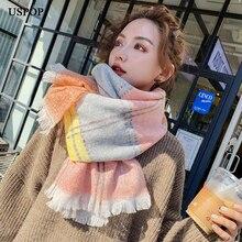 USPOP 2019 Women scarves Color blocking plaid scarf  female soft warm faux cashmere scarves plaid wool blended color blocking square scarf