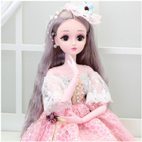 60cm doll 3 part nude baby girl princess wedding dress simulation toy set gift box to send a pair of shoes bjd lol