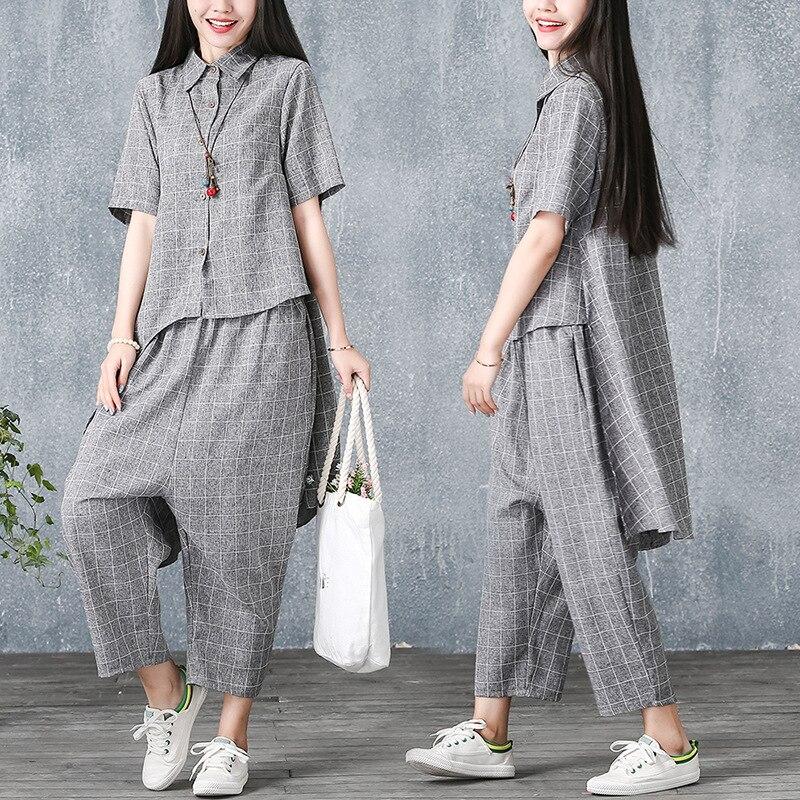 Cotton Linen WOMEN'S Suit 2019 Summer Large Size Loose-Fit Irregular Tops + Baggy Pants Trendy Two-Piece Set