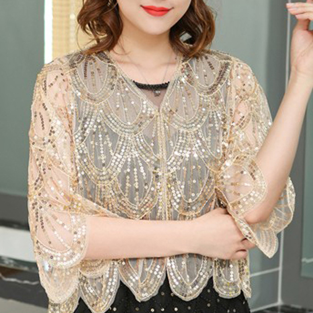 Women Jacket Fashion V-neck Short Cardigan Women Little Shawl Summer Short Sleeve Hollow Lace Dress Shawl Cape Jackets D493 3