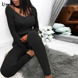 Image 1 - Gestrickte Anzug Zwei Stück Set Top Und Hosen Set Frauen Langarm Split Dünne Pullover 2 Stück Set Frauen Herbst winter Outfits