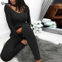 Terno de malha duas peças conjunto de topo e calças femininas manga longa dividir magro camisola 2 peça conjunto outono inverno roupas