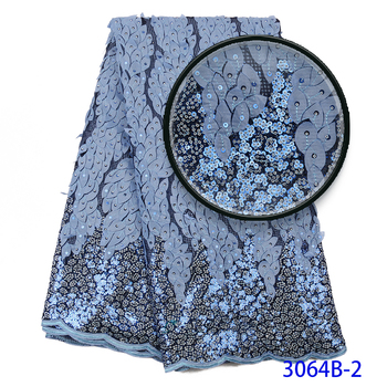 New Arrival African Lace Fabric High Quality African French Tulle Net Lace Fabric With Sequins For African Party Dress 3064b