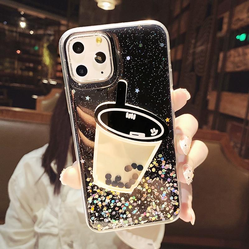 Back Case & 3D pearl milk coffee glitter  - 1mrk.com