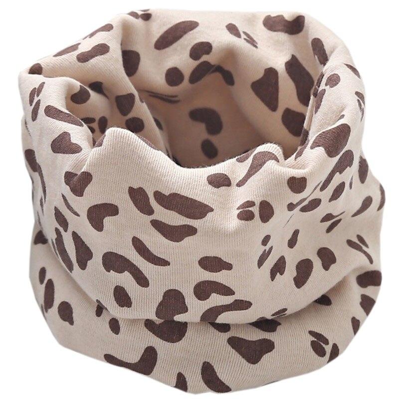 Новинка; Модный хлопковый шарф для маленьких девочек; осенне-зимний шарф для маленьких мальчиков; Детский шарф с круглым вырезом; Детские шарфы; волшебный шейный платок - Цвет: beige leopard