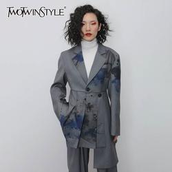 TWOTWINSTYLE Casual Print Irregular Blazers Women Notched Long Sleeve High Waist Asymmetrical Suits For Female Fashion Clothing