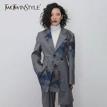 TWOTWINSTYLE Casual Print Irregular Blazers Women Notched Long Sleeve High Waist