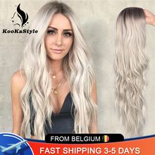 Wavy Wigs Synthetic-Wigs Party-Hair Heat-Resistant Kookastyle Natural Ombre Women Long