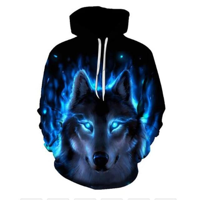 Boys sweatshirts 3D printing mans wommen ice fire Animal Wolf Series pullover animals long sleeve hoodies girls tops thin hoodie 2