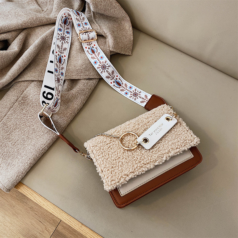 Litthing Lambswool Crossbody Bags For Women 2020 Patchwork Chain Designer Shoulder Messenger Bag Lady Travel Handbags
