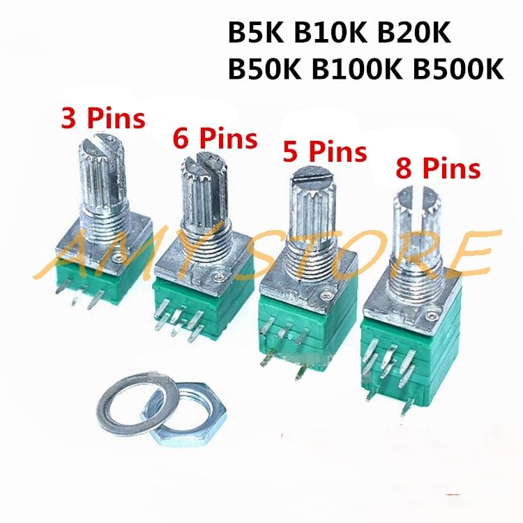 10pcs B5K B10K B20K B50K B100K B500K RV097NS Audio Amplifier Sealed Linear Volume Potentiometer Resistor 15mm Shaft 3/5/6/8pins