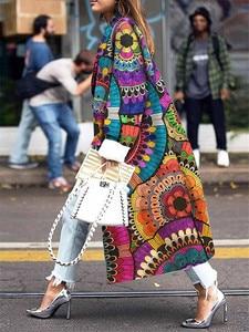 Image 4 - 女性ロングコートファッションカラーマッチング 2019 新春と秋の女性のジャケットプラスサイズかわいいカラフルな印刷コート女性