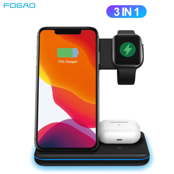 15W Qi Wireless Charger For iPhone 11 XS XR X 8 Samsung S10 S20 3 in 1 Charging Dock Station for Apple Watch 5 4 3 2 Airpods Pro