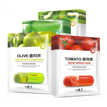 4 pieces Tomato Olive Fruit Face Mask Beautifu Rehydration Mask Moisturizing Oil-controlled Silk Face Mask Plant Facial Mask