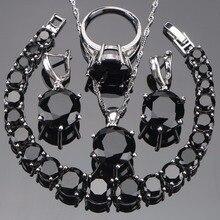 925 Sterling srebrne wesele biżuteria dla nowożeńców ustawia czarny kolczyki z cyrkoniami dla kobiet naszyjnik wisiorek pierścienie zestaw bransoletek pudełko na prezent