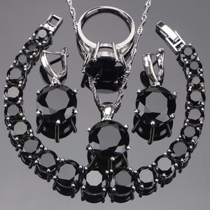 Image 1 - 925 סטרלינג כסף חתונת כלה תכשיטי סטים שחור Zirconia לנשים שרשרת תליון טבעות צמיד סט אריזת מתנה
