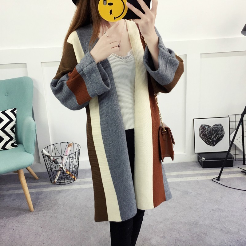 Fashion Color Striped Female Cardigan Oversize Loose Fit Cotton Sweater For Women Winter Outwear Long Coat Knitted Open Stitch