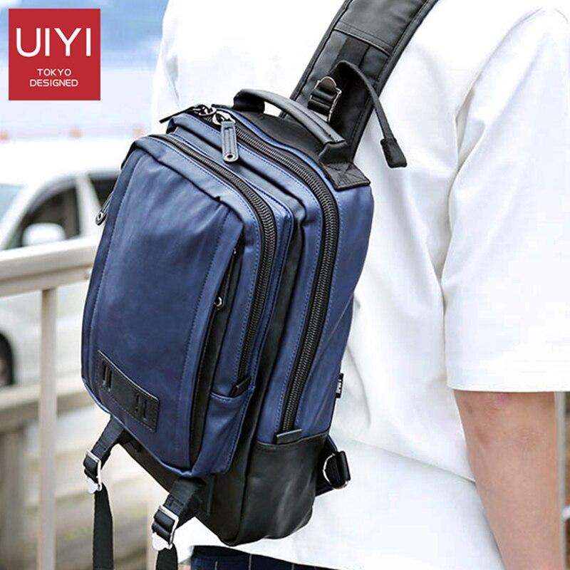 UIYI Large Capacity Men's Chest Bag Shoulder 12' 13' Laptop Bag Men's Women's Casual Tide Men's Bag Shoulder  Crossbody Bags