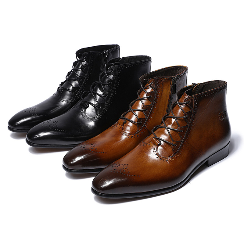 2019 Spring Autumn Fashion Genuine Leather Ankle Boots High Top Lace Up Zipper Formal Shoes High Quality Male Zip Strap Boots
