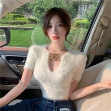 Knitted Tops Crop-Top Mohair Sweater V-Neck Long-Sleeve Korean Women Hollow Metallic-Buckle