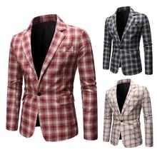 Мужские костюмы одной кнопки пиджак мужской блейзер проверил