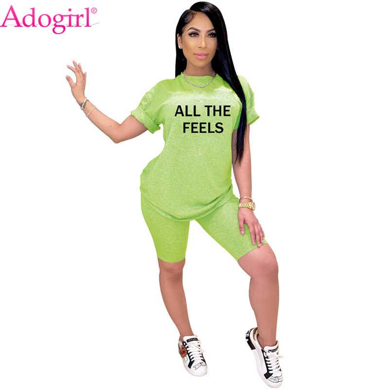 Donna Tuta Sportiva 2Pcs Maglietta e Pantaloncini Moda Stampata Abbigliamento Casual Estive Manica Corta Tops Slim Pantaloni Corti Abbigliamento da Casa