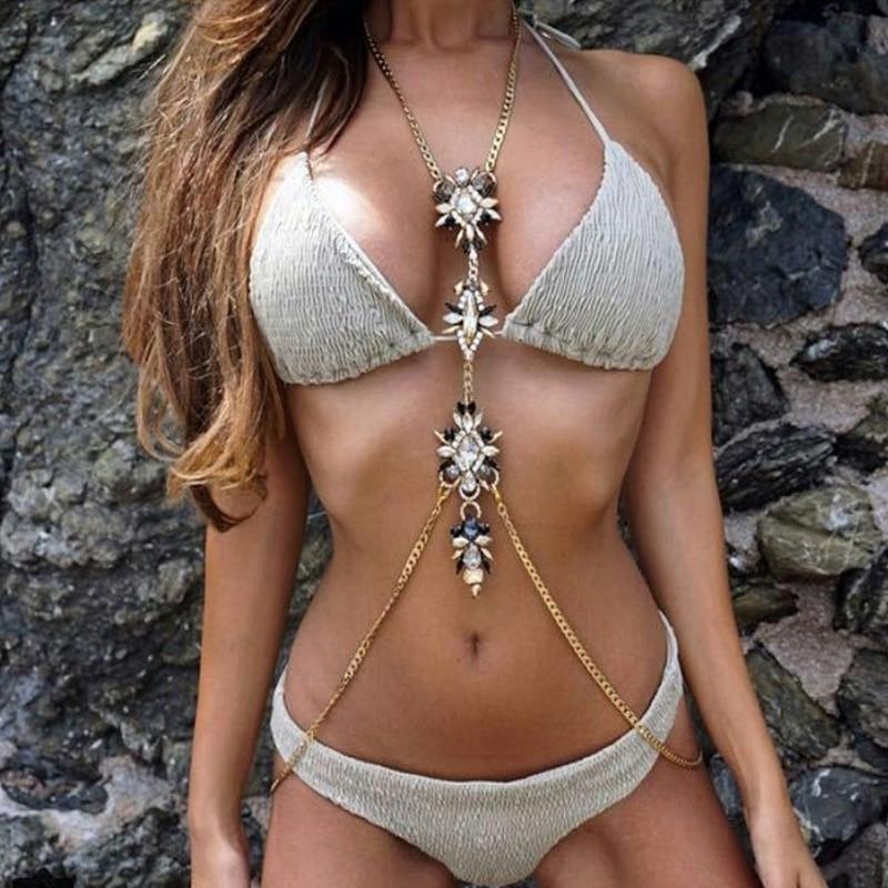 Europe And America Fashion Sexy Exaggeration Man-made Diamond Claw Inlay Body Pendant Women's Bikini Seaside Long Necklace Chain